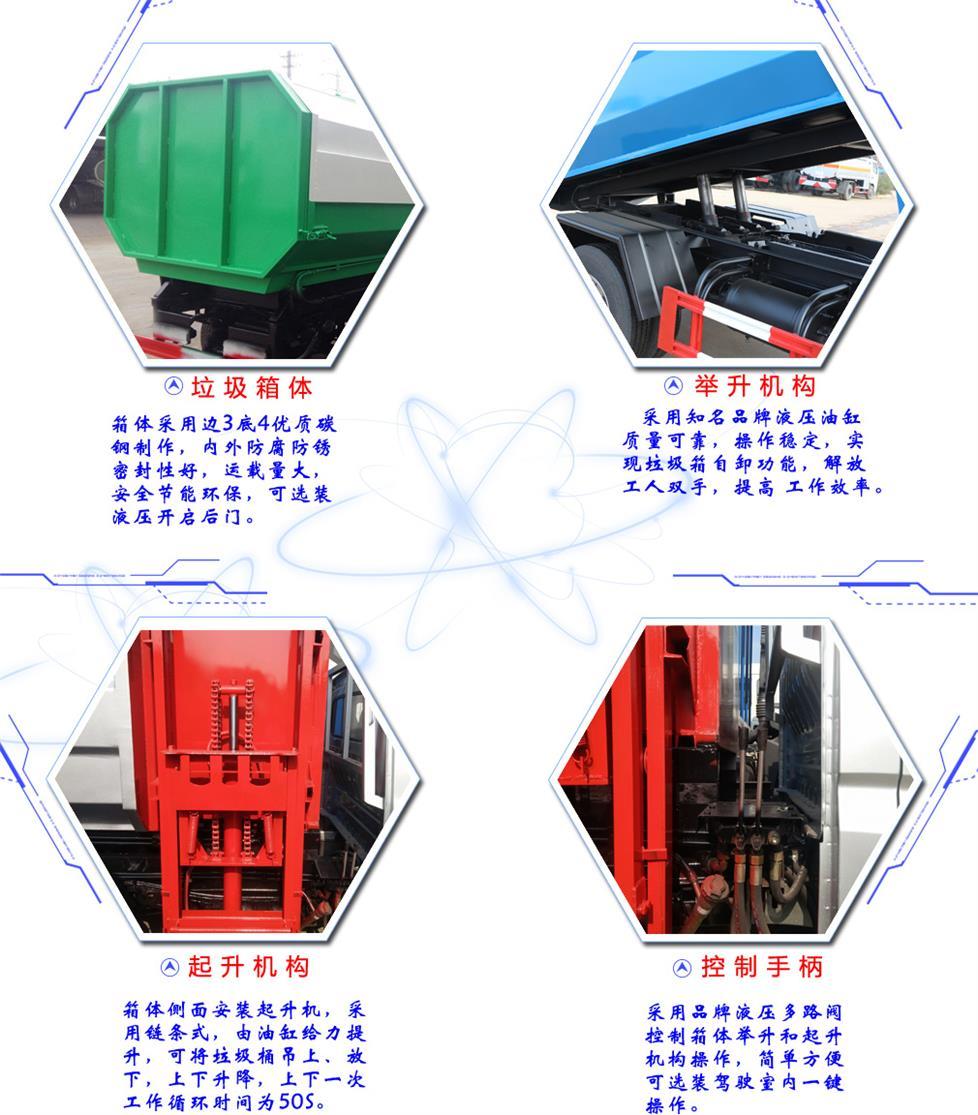 东风6方挂桶式垃圾车车型结构详解